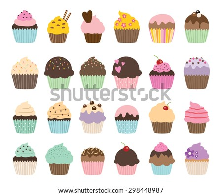 Set of cute vector cupcakes and muffins - stock vector