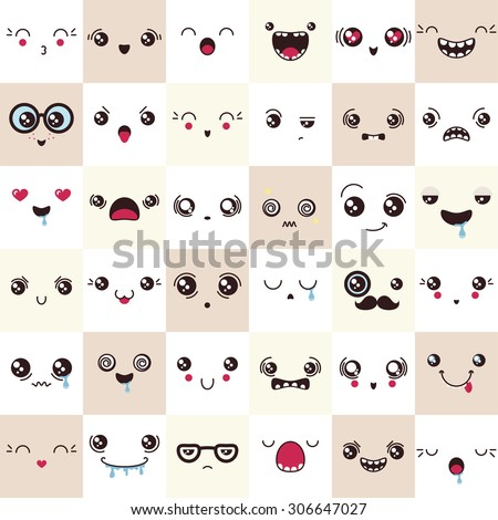 set of cute vector faces, different emotions - stock vector