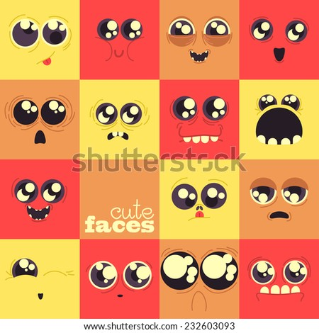 set of cute vector faces, different emotions, big eyes - stock vector