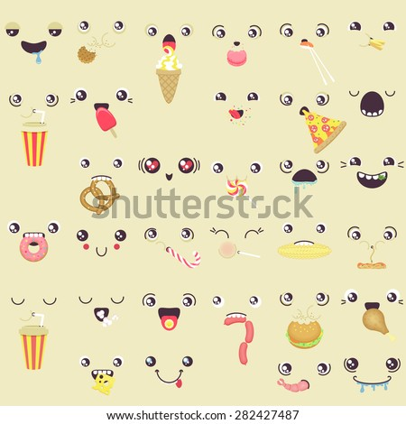 set of cute vector faces eating snacks - stock vector