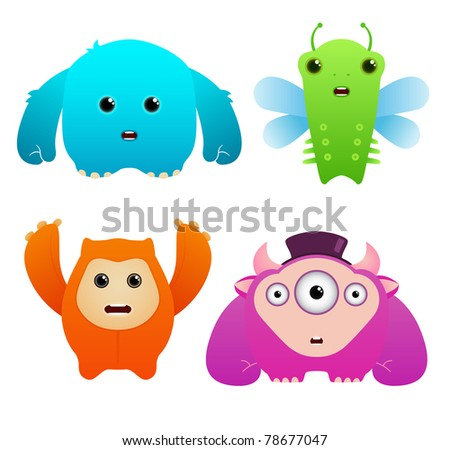 Set of Cute Vector Monsters - stock vector