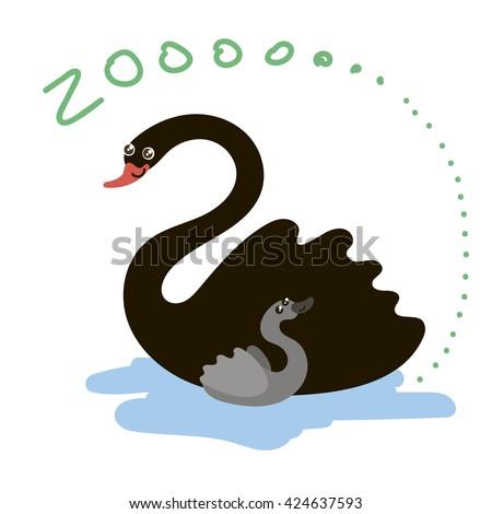 Set of Cute Vector Zoo Animal. Kawaii eyes and style. Doodle illustration. Swan - stock vector