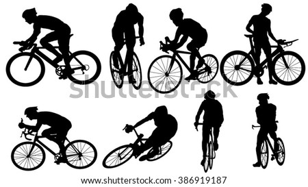 Set of cycler silhouette - stock vector
