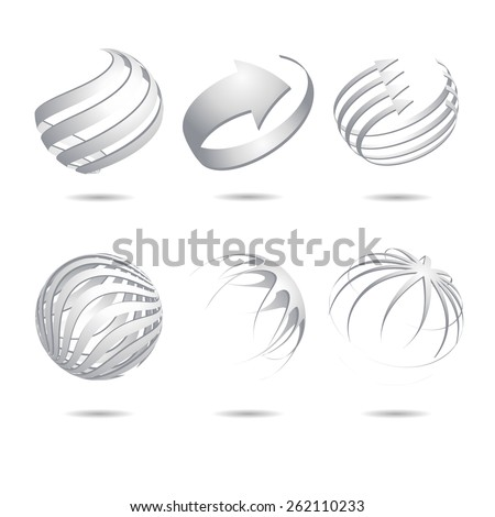 Set of 3d abstract vector white sphere element - stock vector