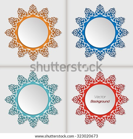 Set of 3d circle frames with Persian floral design in different colors - stock vector