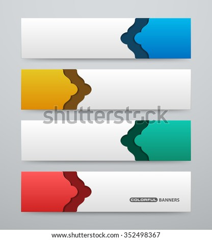 Set of 3d colorful banners template with arabesque design - stock vector
