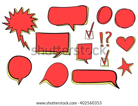 Set of 3d hand drawn icons: check mark, star, heart, speech bubbles. VECTOR. Red & green  - stock vector