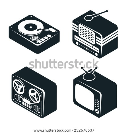 Set of 3D Isometric Icons of Retro Media Devices in Black and White Color on White Background. - stock vector