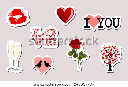 Set of 3d love object stickers. kiss lips, I love you, rose, red heart, birds... colorful sticky icon collection. retro design, white frame, vector art image illustration, isolated on gray background - stock vector