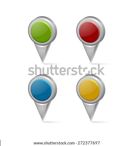 Set of 3d map mark pointers isolated on white background - stock vector