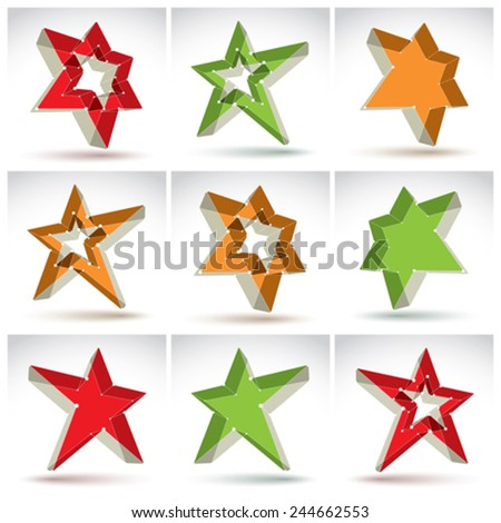 Set of 3d mesh stars, collection of colorful elegant lattice superstar icons, dimensional tech pentagonal objects with white connected lines, bright clear eps 8 vector illustration, pop star icons. - stock vector