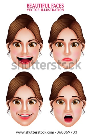 Set of 3D Realistic Beautiful Makeup Faces of Woman  Vector Character with Facial Expressions Isolated in White Background. Vector Illustration  - stock vector