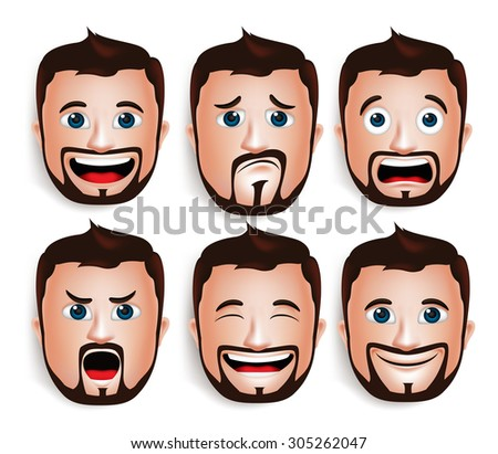 Set of 3D Realistic Handsome Man Head with Different Facial Expressions With Beard Avatar. Isolated in White Background Editable Vector Illustration - stock vector