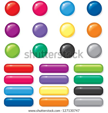 Set of 3D round and rectangular button of different color - stock vector
