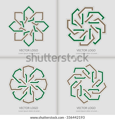 Set of 3d round geometric logo template with islamic design - stock vector
