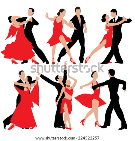 Set of dancing people silhouettes. Vector illustration - stock vector