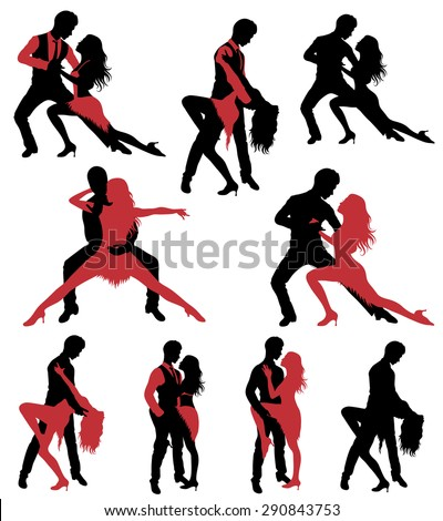 Set of dancing silhouettes. - stock vector
