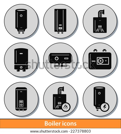 Set of dark boiler icons with reflection line - stock vector