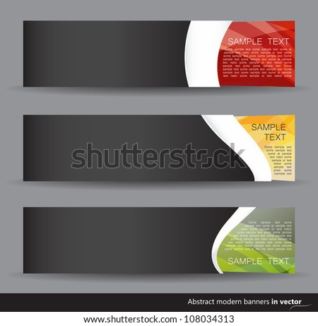 Set of dark colorful horizontal banners isolated on a grey background - stock vector