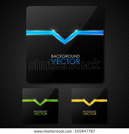 Set of dark vector banners - stock vector