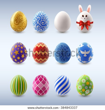 Set of decorated Easter eggs, EPS 10 contains transparency - stock vector