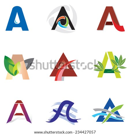 Set of Decorative A Letters - Logo and Elements - stock vector