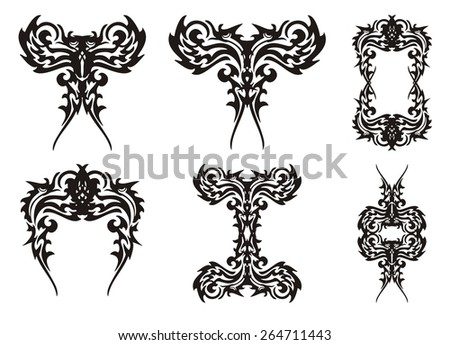 Set of decorative birds elements  - stock vector