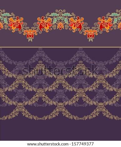 Set of decorative border patterns - stock vector