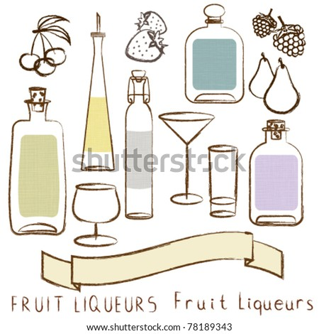 Set of decorative bottles with empty labels, liqueur glasses and fruits.Fruit liqueurs set - stock vector