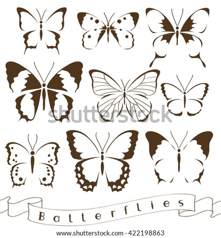 Set of decorative butterfly silhouettes.Vector icon - stock vector