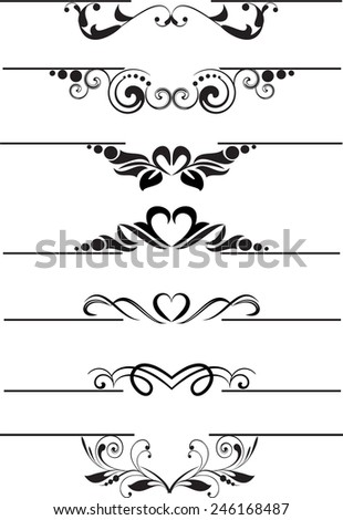 Set of decorative calligraphic elements for editable and design. - stock vector