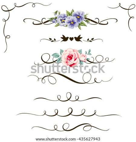 Set of decorative calligraphic floral elements. Vintage flower, divider and corner for your design and page decor - stock vector