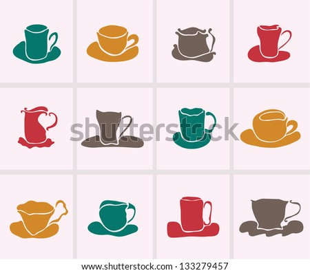 set of 12  decorative cups for your design - stock vector