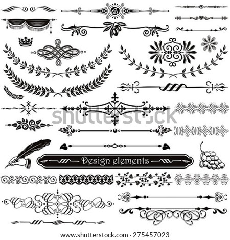 Set of decorative design elements and page decor - stock vector