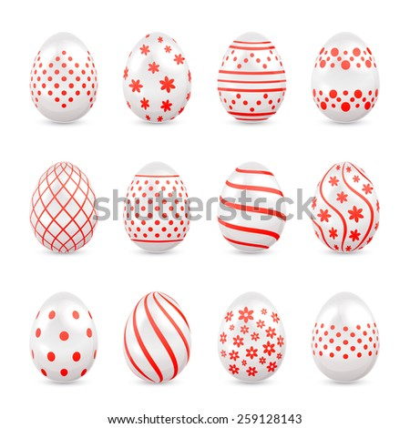 Set of decorative Easter eggs with red patterns isolated on white background, illustration. - stock vector