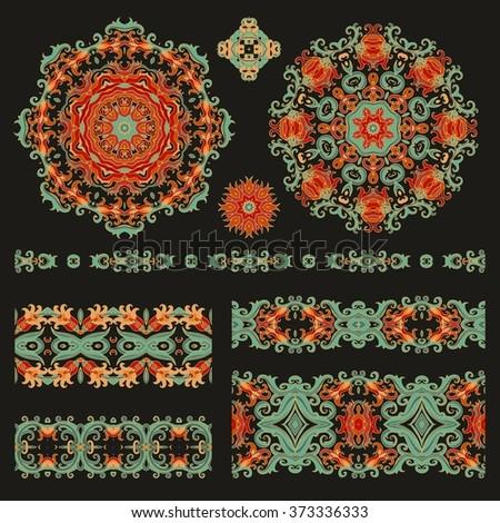 Set of decorative elements - stock vector