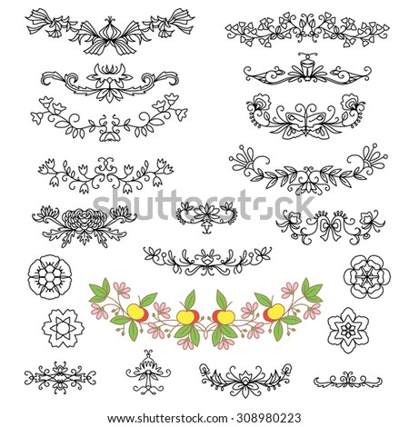 Set of  decorative elements. Floral calligraphic ornaments,garlands and flowers. Design collection for invitations, banners, posters, cards, badges and logotypes. - stock vector