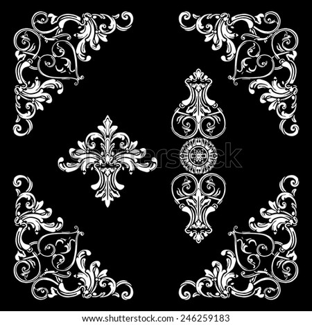 Set of decorative elements, frame, border. Vector. - stock vector