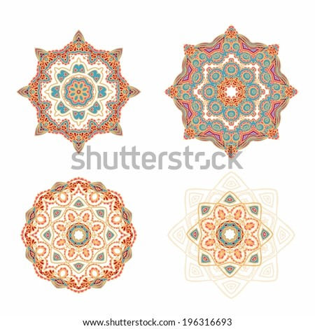Set of decorative elements in Arabic style - stock vector