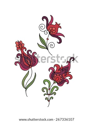 Set of decorative elements - pomegranate flowers - stock vector