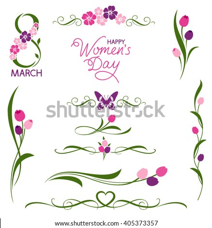 Set of decorative floral elements. 8 March. Women's day - stock vector