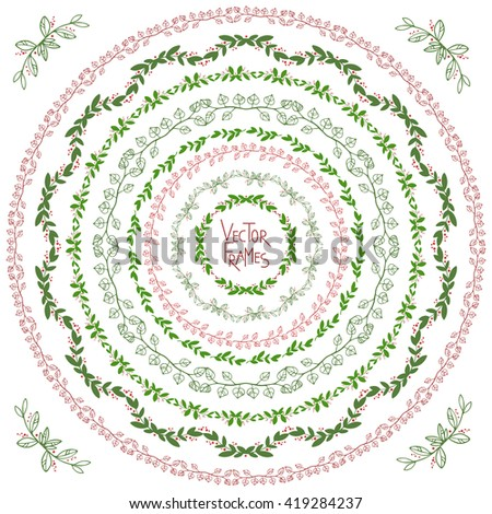 Set of decorative floral round frames and corner  - stock vector