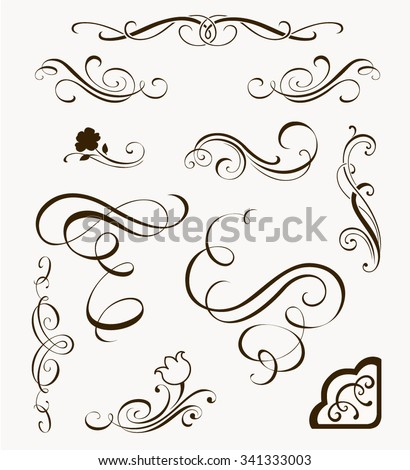 Set of decorative flourish elements. Calligraphic ornaments and borders for your design. Floral silhouettes - stock vector