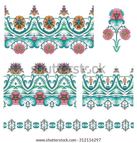 Set of decorative flourish  ribbons - stock vector