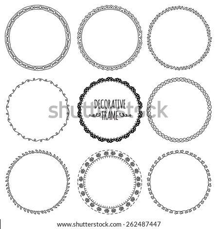 set of decorative frame doodle - stock vector