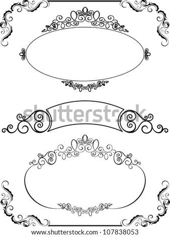 Set of decorative frames and borders - stock vector