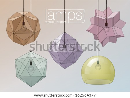 Set of decorative glass ceiling lights. Geometric form - stock vector