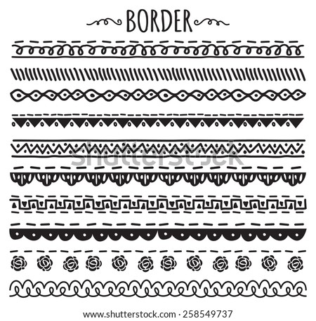 set of decorative hand drawn border - stock vector