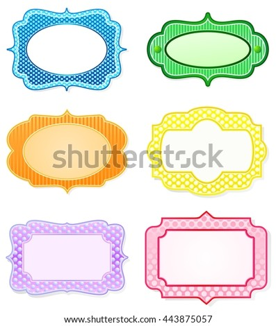 Set of decorative icons or small frames, in rainbow colors - stock vector