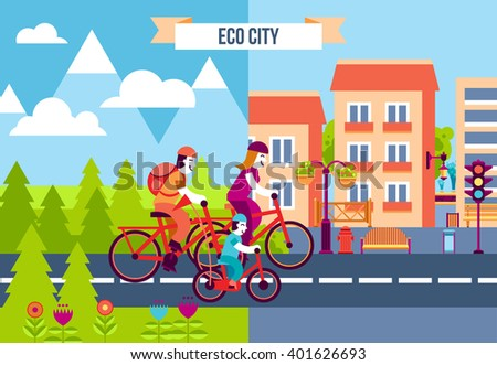 Set of decorative icons with family traveling by bicycles from the suburb to the eco city vector illustration - stock vector